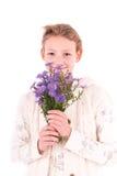 Muchacha adolescente en un fondo blanco Fotos de archivo libres de regalías