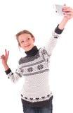 Muchacha adolescente en un fondo blanco Imagen de archivo
