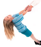 Muchacha adolescente en un fondo blanco Imagenes de archivo
