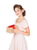 Muchacha adolescente en un vestido rosado Fotos de archivo