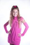 Muchacha adolescente en una presentación rosada de la alineada Fotos de archivo libres de regalías