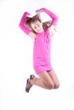 Muchacha adolescente en una presentación rosada de la alineada Fotografía de archivo libre de regalías