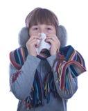 Muchacha adolescente enferma Imagen de archivo libre de regalías