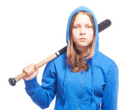Muchacha adolescente enojada en capilla con el bate de béisbol Fotos de archivo libres de regalías