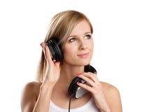 Muchacha adolescente feliz de DJ en auriculares Foto de archivo