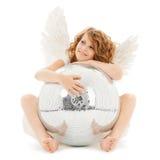 Muchacha adolescente feliz del ángel con la bola de discoteca Fotografía de archivo libre de regalías