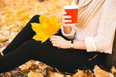 Muchacha adolescente feliz que camina en parque del otoño Feliz relaje el tiempo en ciudad Fotos de archivo libres de regalías