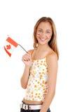 Muchacha adolescente feliz que celebra el día de Canadá Fotos de archivo libres de regalías