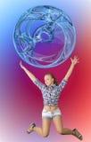 Muchacha adolescente feliz que salta con la esfera del extracto de la bola Fotografía de archivo libre de regalías
