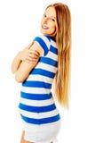 Muchacha adolescente feliz que se abraza Fotografía de archivo libre de regalías
