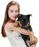 Muchacha adolescente hermosa con el perrito lindo Imagen de archivo libre de regalías