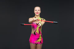Muchacha adolescente hermosa del gimnasta Fotos de archivo
