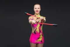 Muchacha adolescente hermosa del gimnasta Foto de archivo