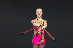 Muchacha adolescente hermosa del gimnasta Fotografía de archivo