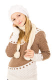 Muchacha adolescente hermosa en un casquillo Imagen de archivo libre de regalías