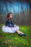 Muchacha adolescente hermosa en un prado Imagen de archivo