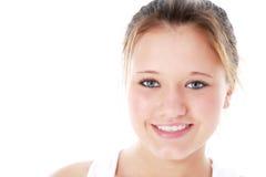 Muchacha adolescente hermosa sobre blanco Imagen de archivo libre de regalías
