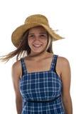 Muchacha adolescente linda en sombrero de paja Foto de archivo libre de regalías