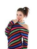 Muchacha adolescente linda que hace un gesto que se pregunta Foto de archivo