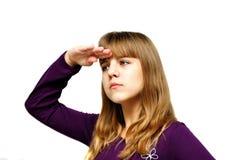 Muchacha adolescente que anticipa Imagenes de archivo