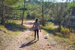 Muchacha adolescente que camina con un perro blanco en bosque Foto de archivo libre de regalías