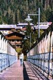 Muchacha adolescente que camina en un puente Fotos de archivo