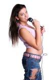 Muchacha adolescente que canta Fotografía de archivo libre de regalías