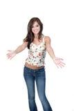 Muchacha adolescente que da la bienvenida con los brazos abiertos Foto de archivo