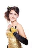 Muchacha adolescente que desgasta la alineada de oro Fotografía de archivo