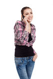 Muchacha adolescente que habla en el teléfono Fotos de archivo