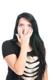 Muchacha adolescente que hace torpe, cara divertida, scarry Fotos de archivo libres de regalías