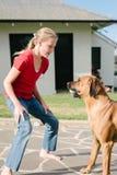 Muchacha adolescente que juega con su perro casero Foto de archivo libre de regalías