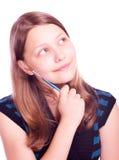 Muchacha adolescente que mira para arriba Fotos de archivo