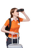 Muchacha adolescente que mira a través de los prismáticos Imagenes de archivo