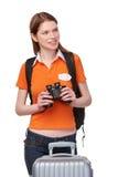 Muchacha adolescente que mira a través de los prismáticos Fotografía de archivo libre de regalías