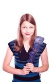 Muchacha adolescente que permanece con el paraguas Foto de archivo libre de regalías