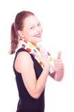 Muchacha adolescente que permanece con la toalla Foto de archivo libre de regalías