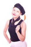 Muchacha adolescente que presenta con la cucharón Fotografía de archivo libre de regalías