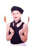 Muchacha adolescente que presenta con la cucharón Fotos de archivo