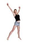 Muchacha adolescente que salta para la alegría Fotos de archivo