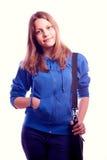 Muchacha adolescente que se coloca con la cartera Fotos de archivo libres de regalías
