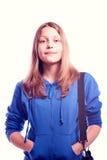 Muchacha adolescente que se coloca con la cartera Imágenes de archivo libres de regalías