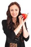 Muchacha adolescente que sostiene la manzana Imagen de archivo libre de regalías