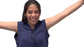 Muchacha adolescente sonriente emocionada aislada Foto de archivo libre de regalías