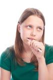 Muchacha adolescente triste con el cepillo de dientes Imagenes de archivo