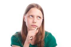 Muchacha adolescente triste con el cepillo de dientes Imagen de archivo