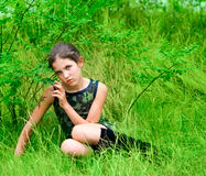 Muchacha adolescente triste de la belleza Fotografía de archivo libre de regalías