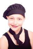 Muchacha adolescente vestida en sombrero del cocinero Fotografía de archivo