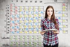 Muchacha adolescente y tabla periódica de Mendeleev Foto de archivo libre de regalías
