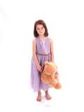 Muchacha adorable con el oso fotografía de archivo